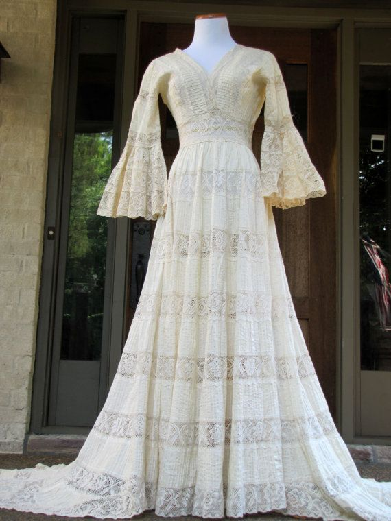 Vintage 70\'s Mexican Lace Wedding Dress by AvannaGirl on Etsy ...