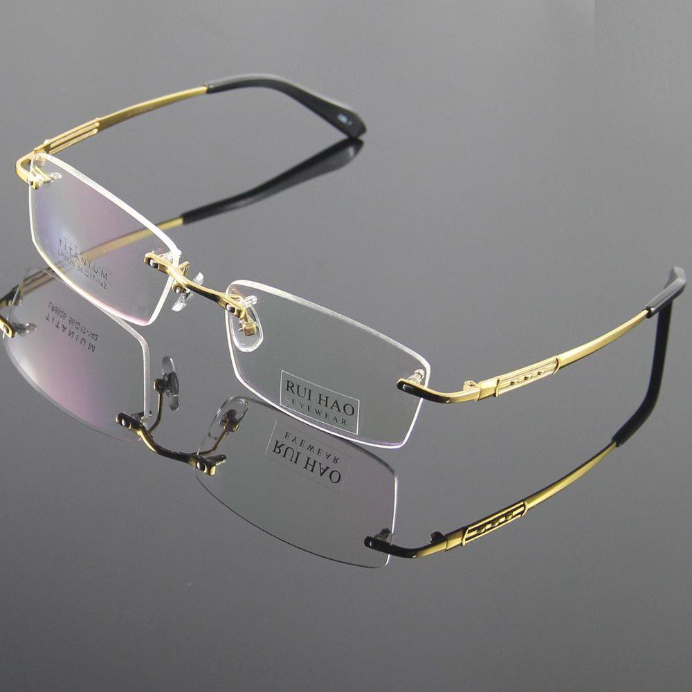 696ef604c1d 100% Titanium Eyeglasses Frame Eyeglasses Men Rimless Glasses Mens Optical  Spectacles Eyewear Frames oculos of grau