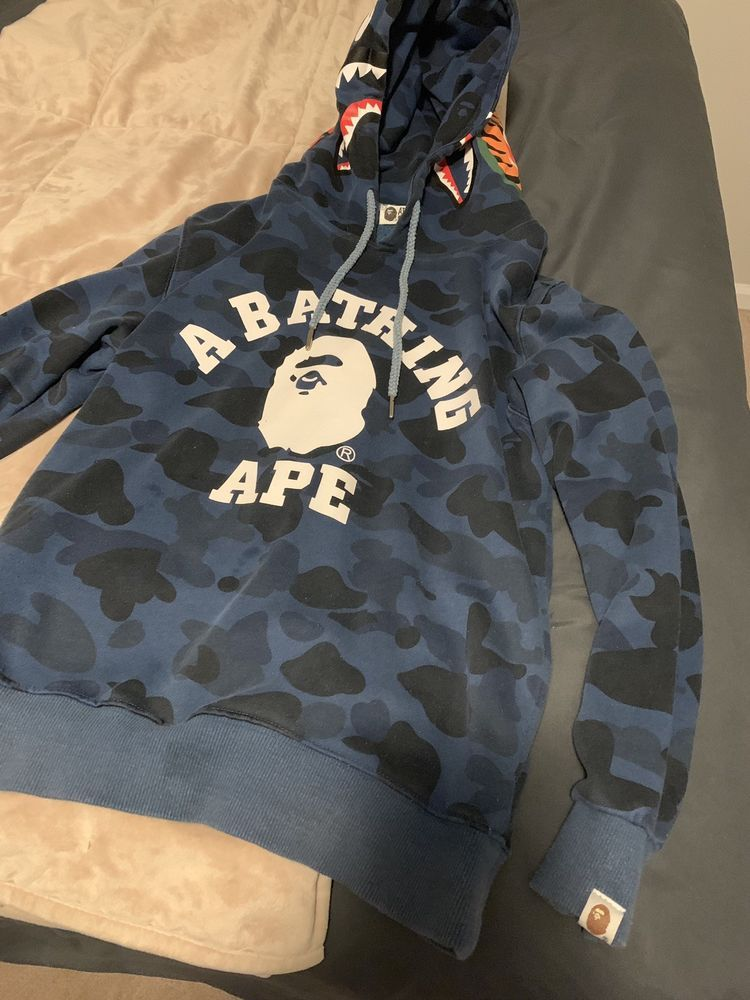 Authentic Blue Bape Shark Hoodie Size Small #fashion