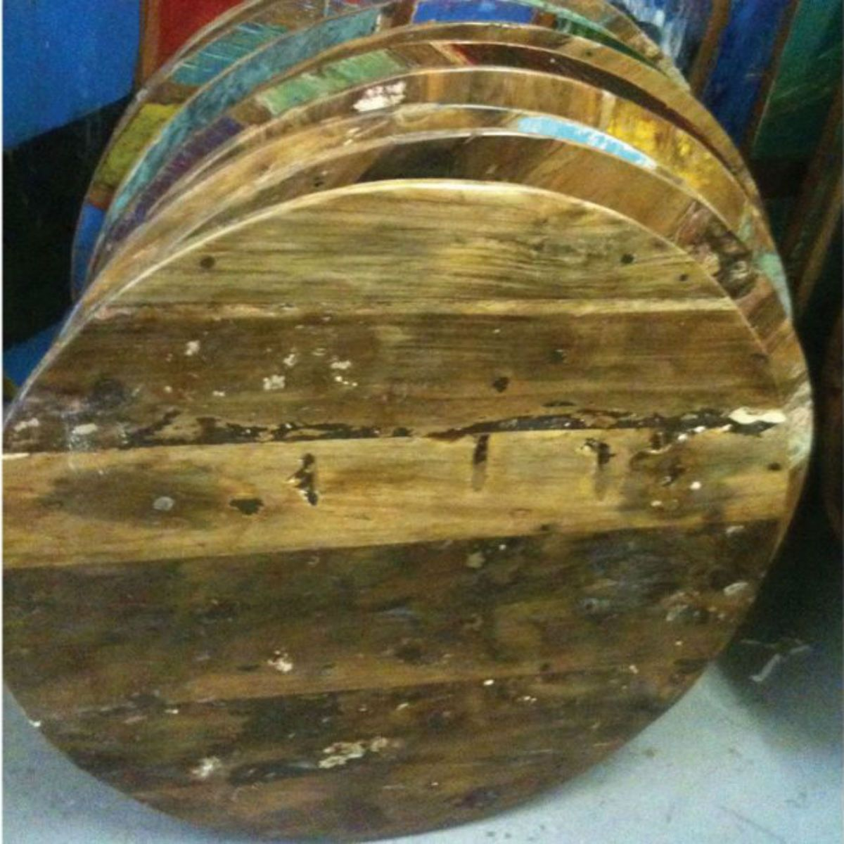 Reclaimed boat wood table top available in square round for Reclaimed wood dc