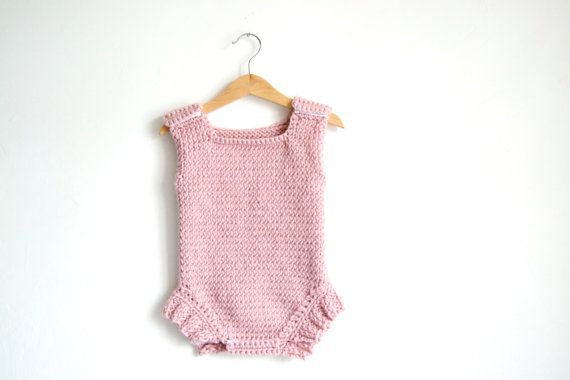 Hand Knitted Baby One Piece Wool Sleeveless by NeslisHandcrafts