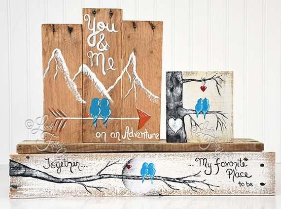 You and Me Wood Signs Adventure Sign Mountains Reclaimed Wood image 4