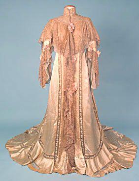 1900s peignoir  lace dress vintage victorian clothing