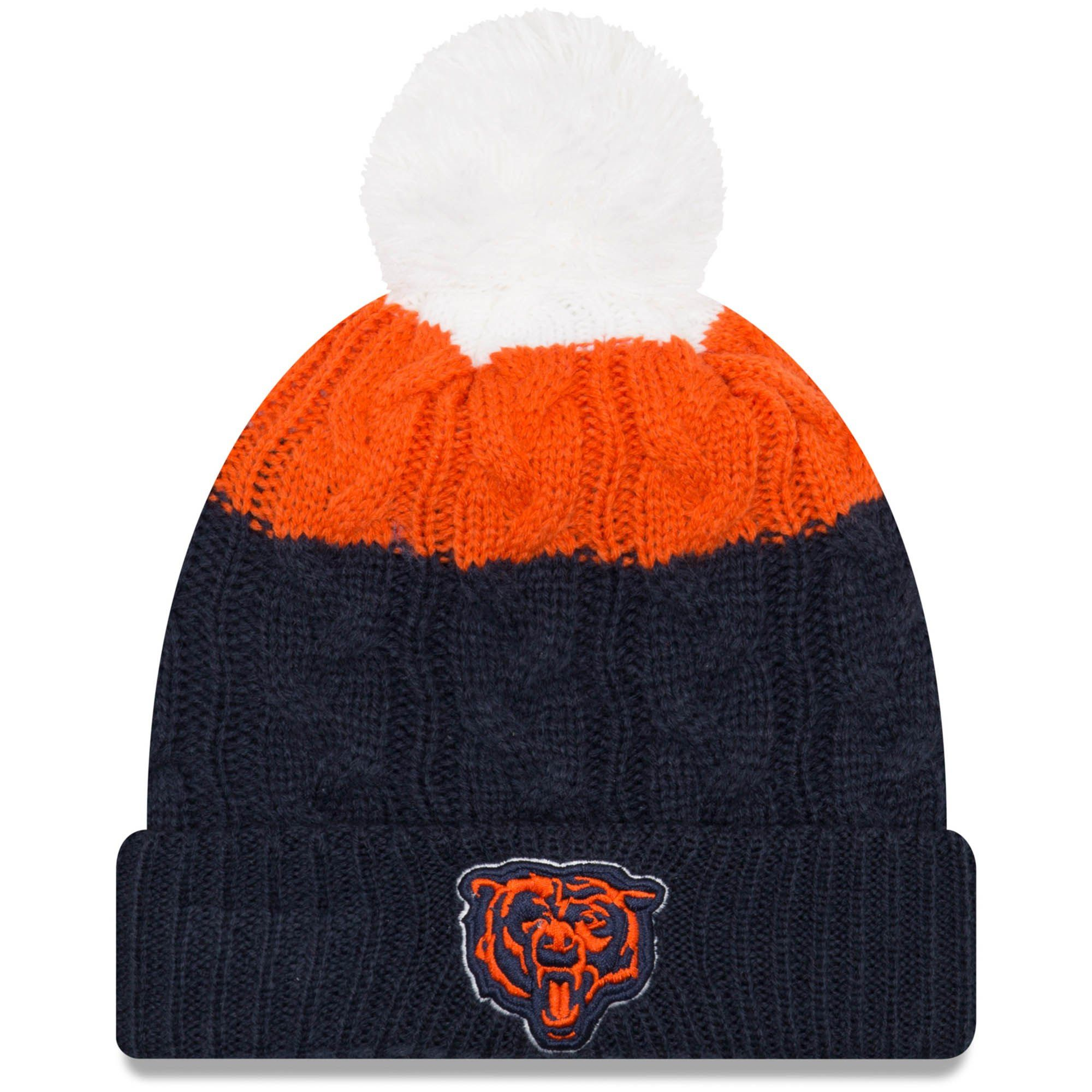 4f59544730ef85 Women's Chicago Bears New Era White/Navy Alternate Logo Layered Up 2 Cuffed  Knit Hat with Pom, Your Price: $23.99