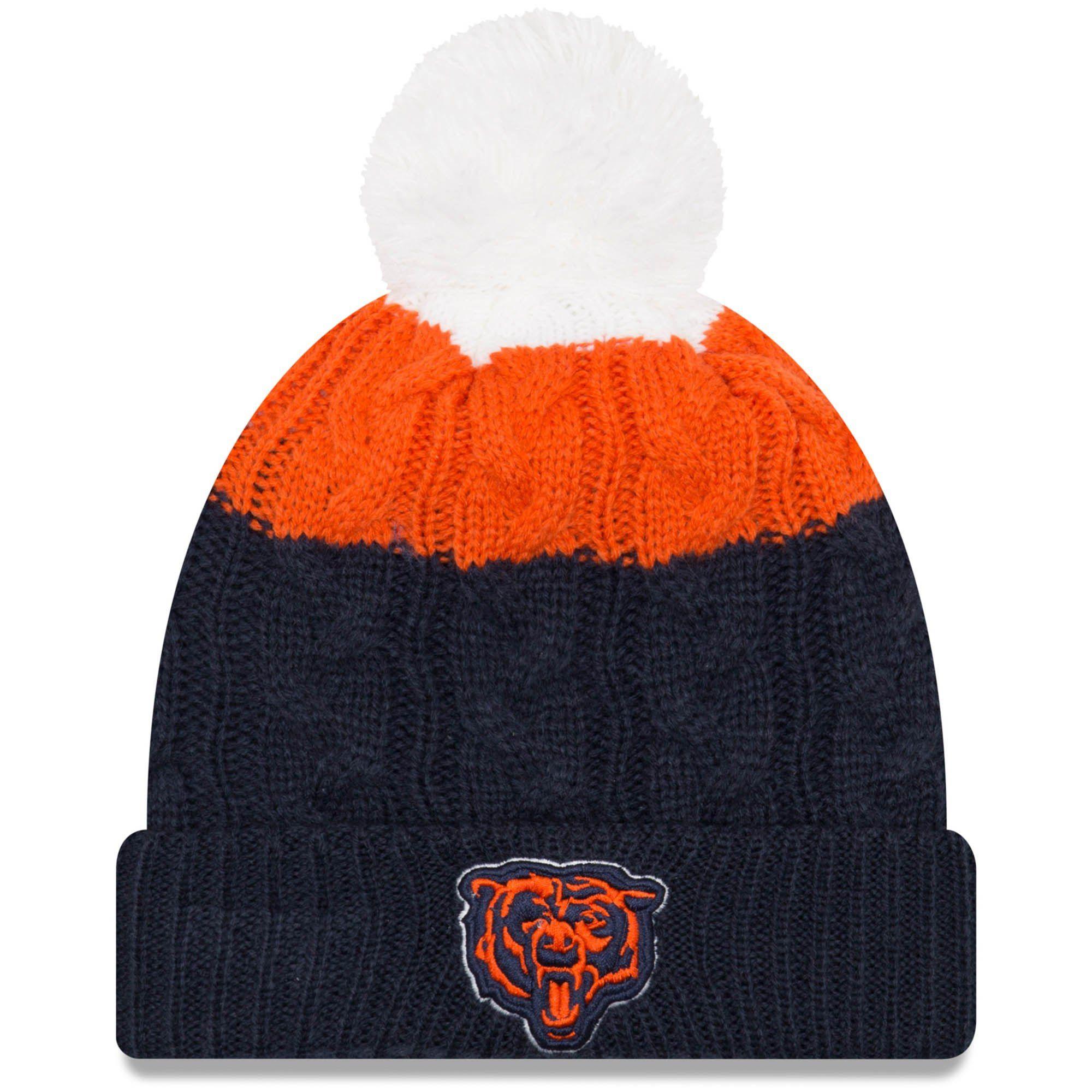 Women s Chicago Bears New Era White Navy Alternate Logo Layered Up 2 Cuffed  Knit Hat with Pom 838b7a5c9