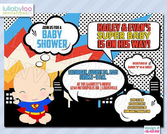 superhero baby shower invitation - baby superheroes | pop art, Baby shower invitations