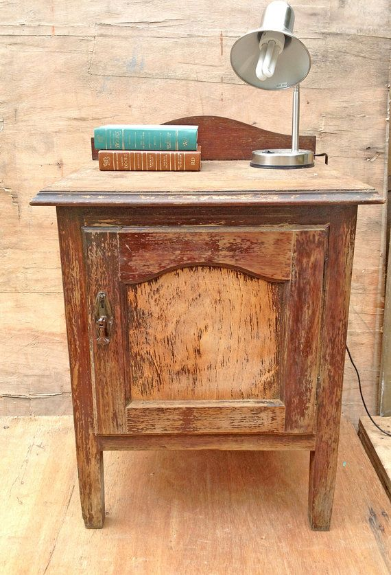 Wooden Vintage Bedside Table Or Side Table By Rosesupcycled Vintage Bedside Table Bedside Table Wooden