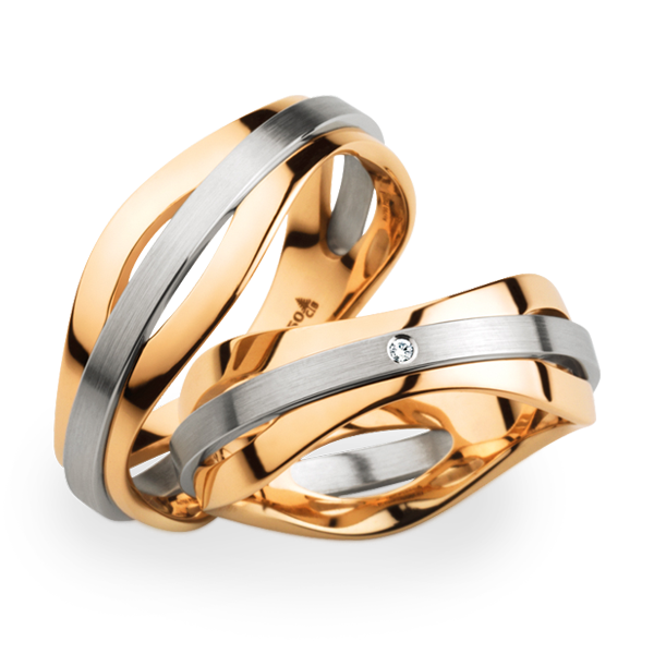 christian bauer platinum and rose gold bands these are just striking - Christian Wedding Rings