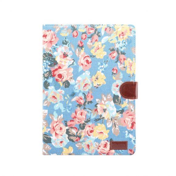 iPad 10.2 - Housse fleuries en tissu bleu #fleursentissu