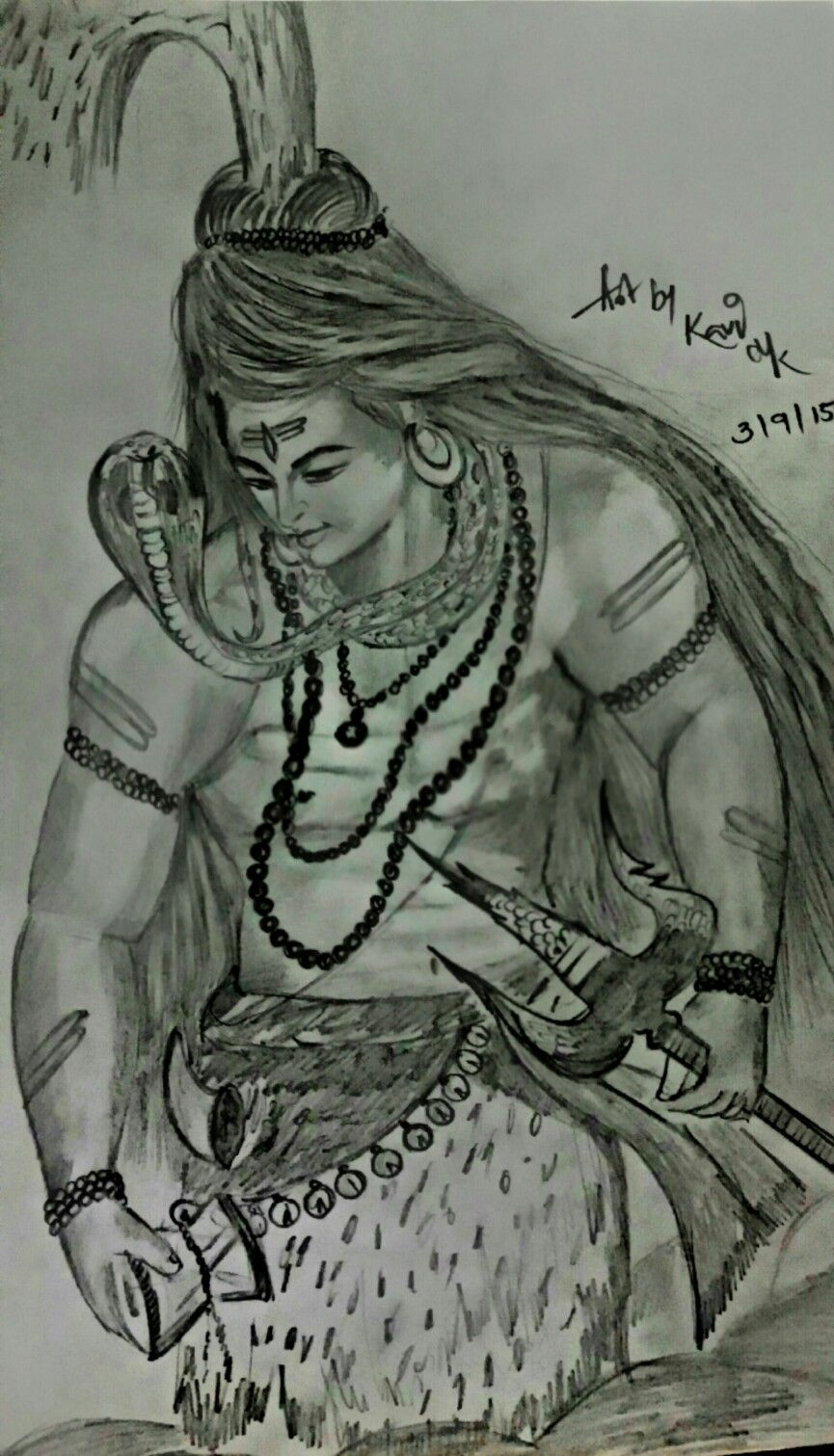 Pencil drawing of siva lord