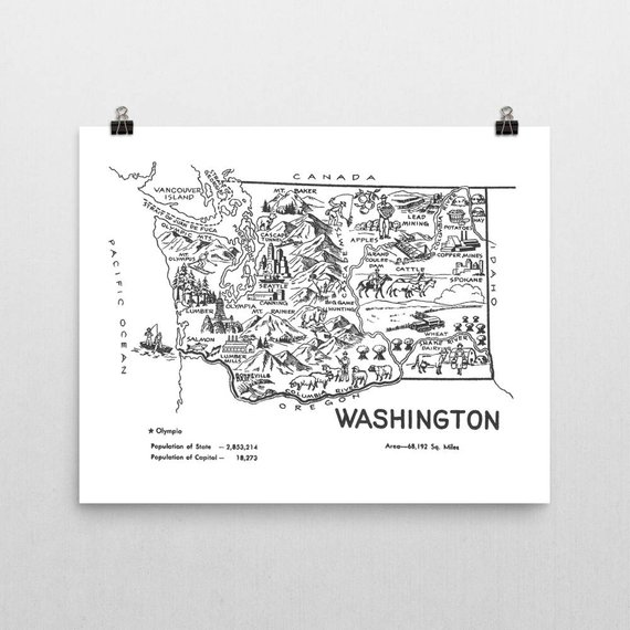 Washington State Map Washington Map Nursery Print State Wall Art Travel Gift Washington State Map Washington Map Map Nursery