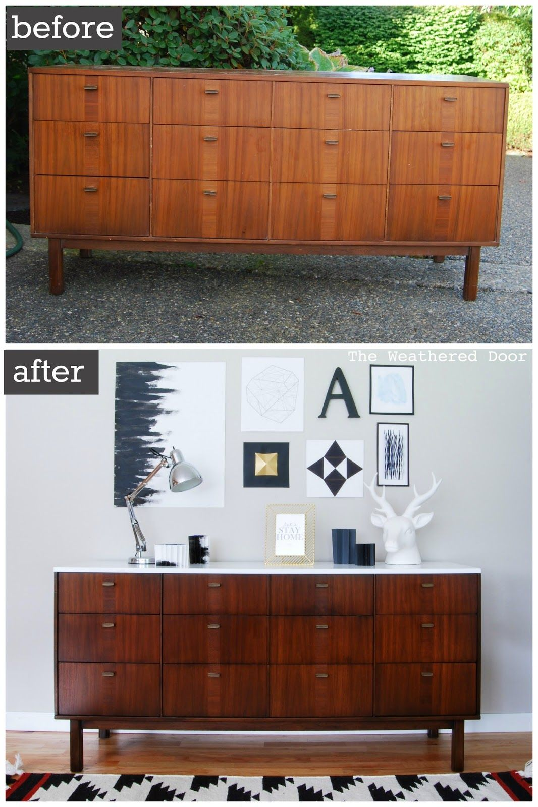 before & after: mid century modern credenza with a glossy white