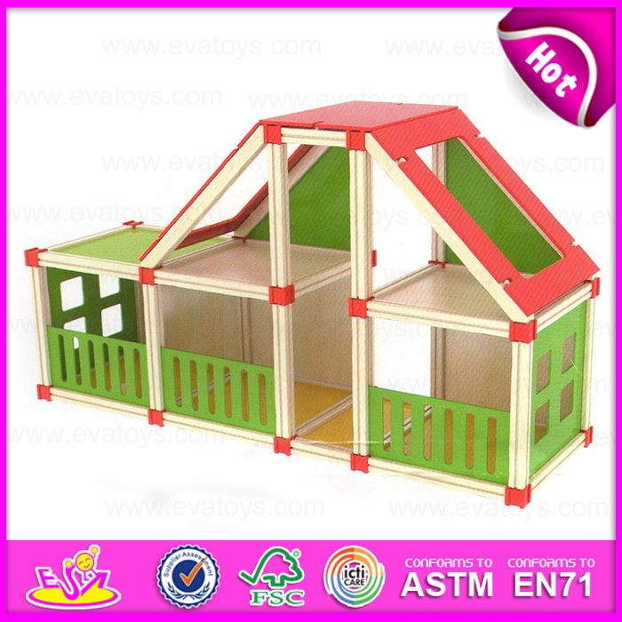 2015 New Wooden Toy Doll House for Kids, Child Wooden Assembling Assembles Doll House, DIY Doll House Toy Wholesale W06A110