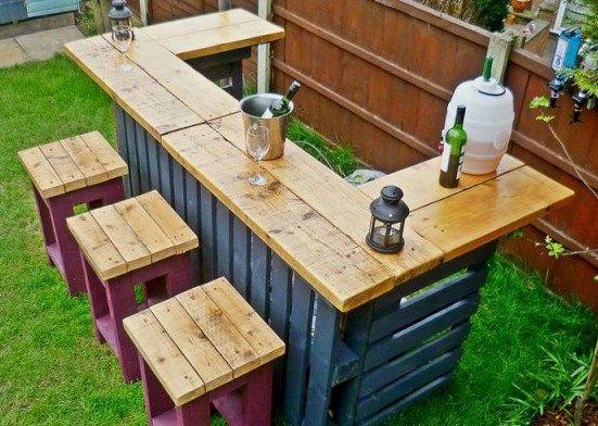 Modeles Bars De Jardin Realises En Bois De Palettes Bar Exterieur Bar Jardin Idees De Bar