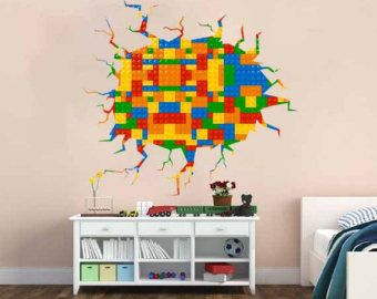 Full Color Wall Decal Vinyl Mural Kids Lego Crack In The Wall Lego Pattern  Removable