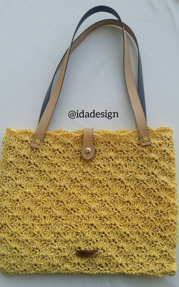 Boho bag, knitted shoulder bag, women summer bag, sac, purse, beach bag, trend bag, casual bag, tote