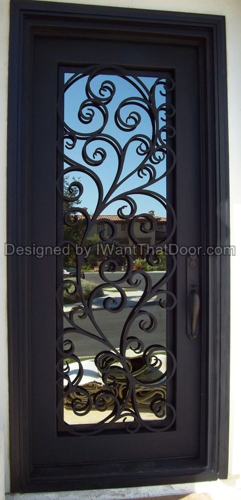 Tuscany single iron door wrought iron doors pinterest for Exterior doors with screen insert