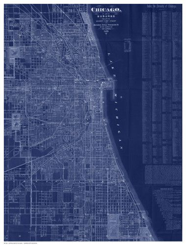 Antique map of chicago blue antique maps print poster and interiors malvernweather