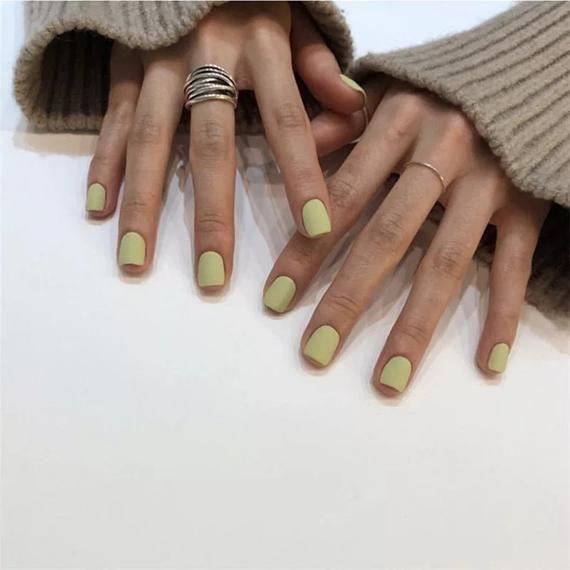 Avocado Green Acrylic Matte False Nails,Summer Cute Square Head Full Cover Fake Nails,press on nail, matte nail, nails tip,French nail