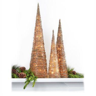 Decorative Glitter Pre-Lit Cone Trees - Set of 3 Pinterest Cone