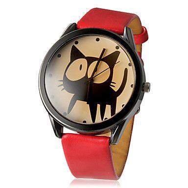Gatinho padrão redondo Alloy Dial PU banda quartzo analógico relógio de pulso da Mulher (cores sortidas) – EUR € 5.79