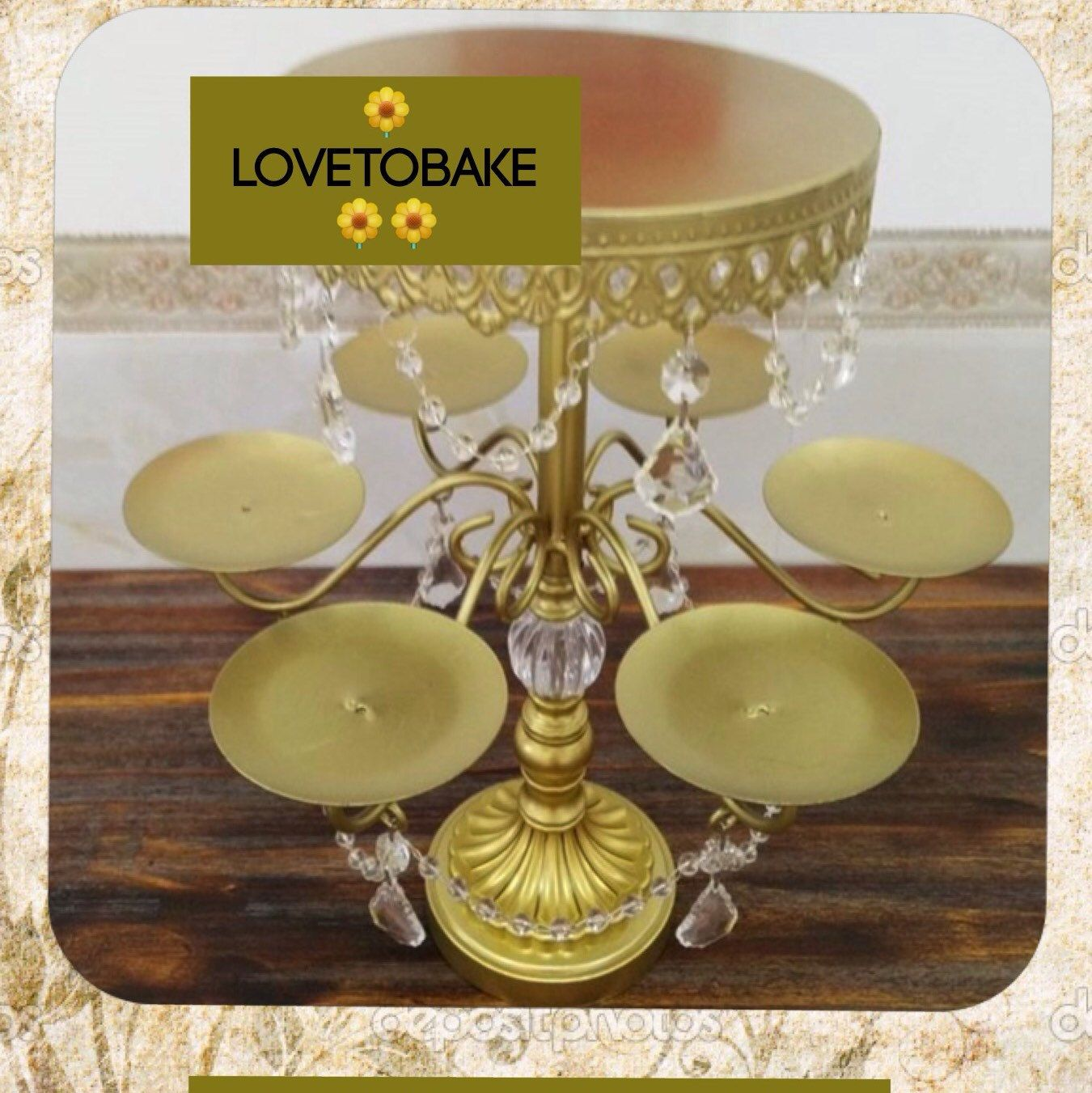 Beautiful gold cake stand holds main cake and six cupcakes free beautiful gold cake stand holds main cake and six cupcakes free shipping arubaitofo Image collections