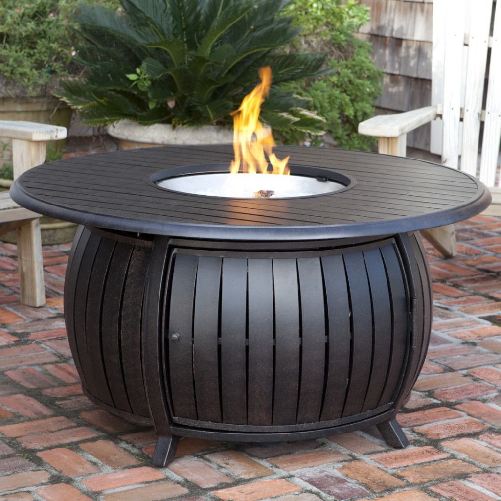 Fire Sense Round Propane Pit Patio Table Extruded Aluminum 61832