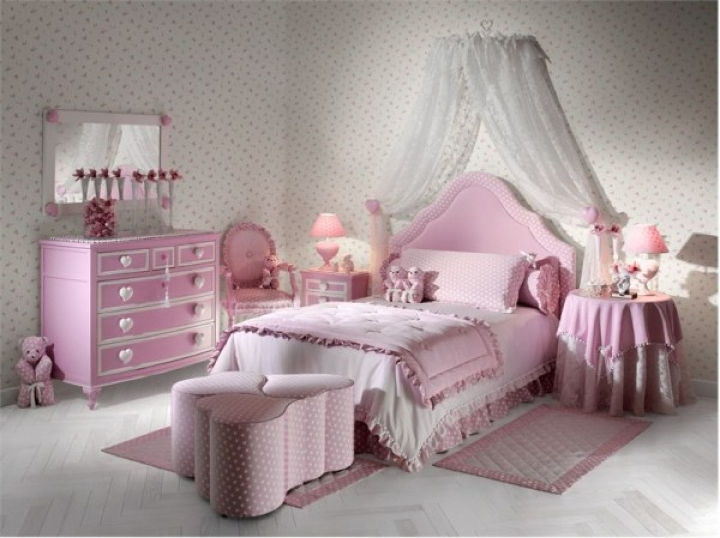 Attractive Bedroom,Beautiful Girls Bedroom Decorating Ideas Room Designs For Girls  With Elegant Princess Pink Queen Size Bed Also Small Pink Night Stan.