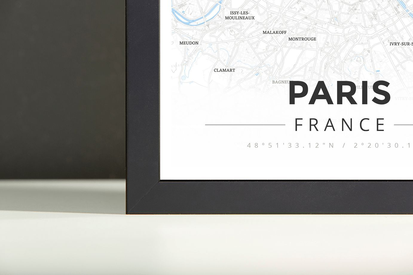 Driving Map Of France With Distances%0A Framed Map Poster of Paris France  Modern Ski Map