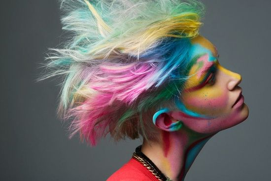 colorful hair and make up