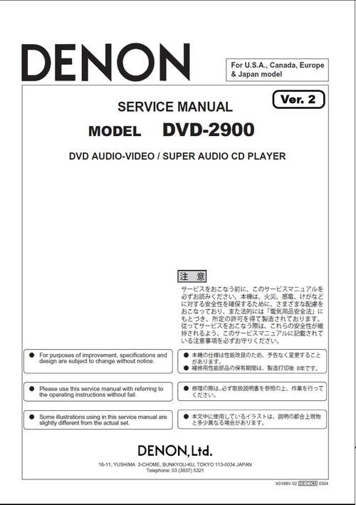 Denon DVD-2900 , Service Manual version 2 (updated) * PDF format - technical manual template