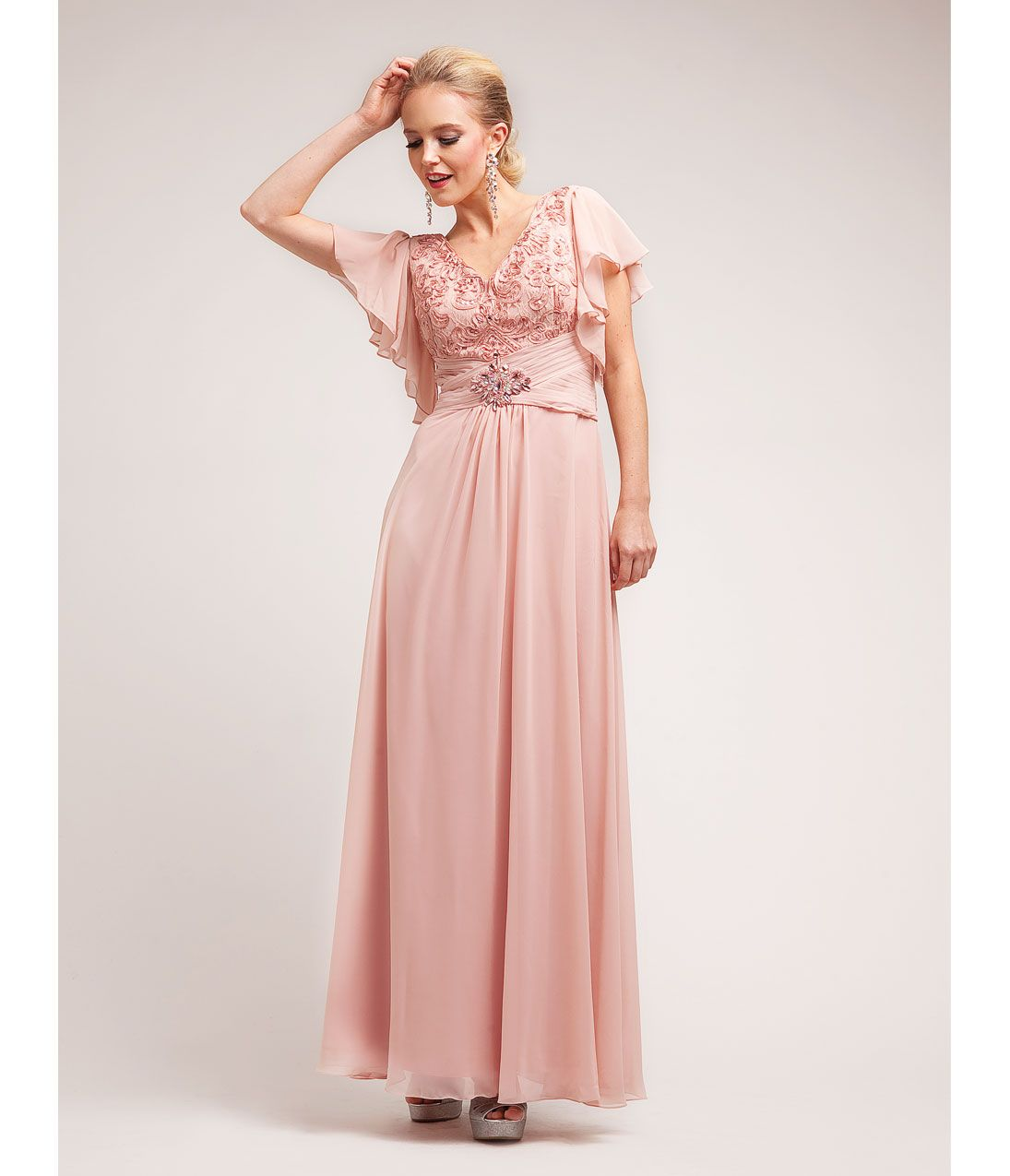 Dusty Rose Chiffon Lace Modest Gown Uniquevintage Prom
