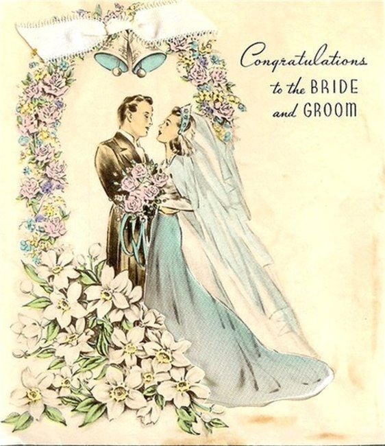 Винтажные свадебные открытки, мишкой дню