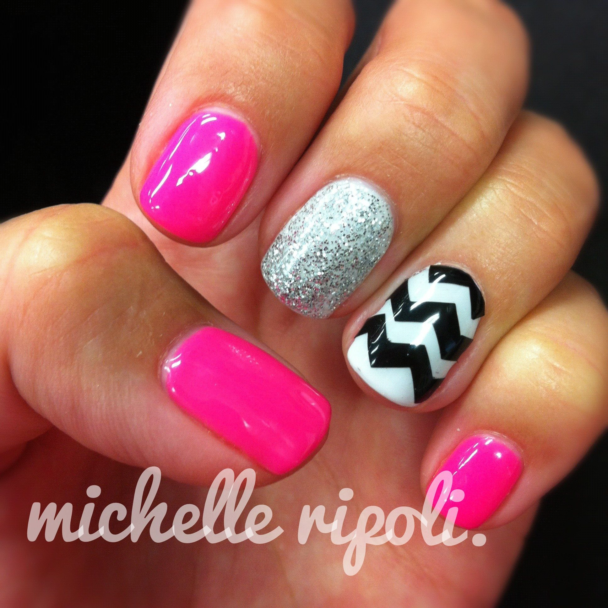 fluorescent, sparkle & zigzag - bio sculpture gel nails. | Nails ...