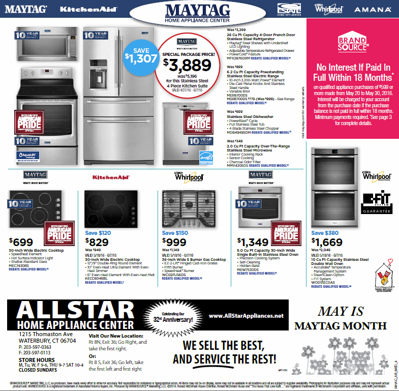 May June 2016 #promotions #maytag #kitchenaid #amana #whirlpool #appliances  ITEMS