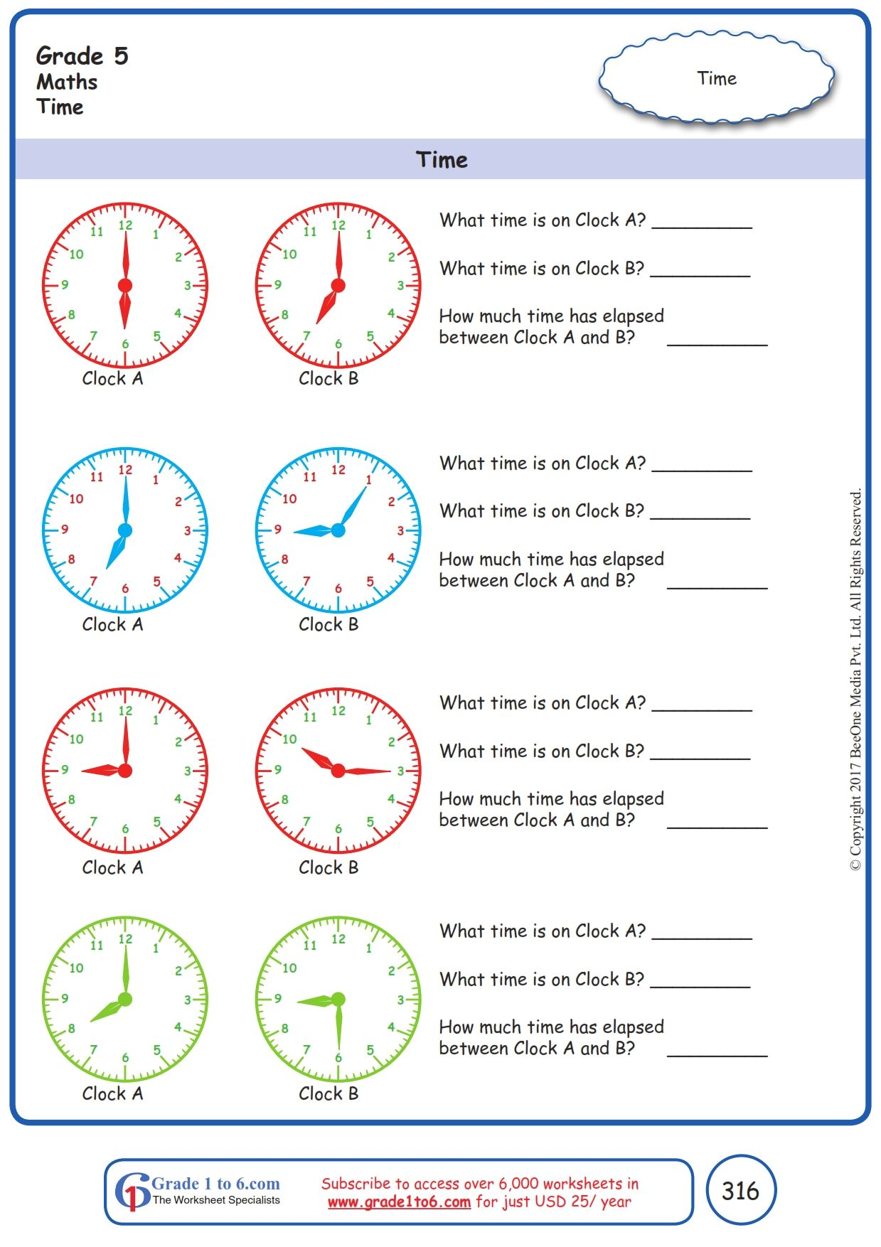 Worksheet Grade 5 Math Time In