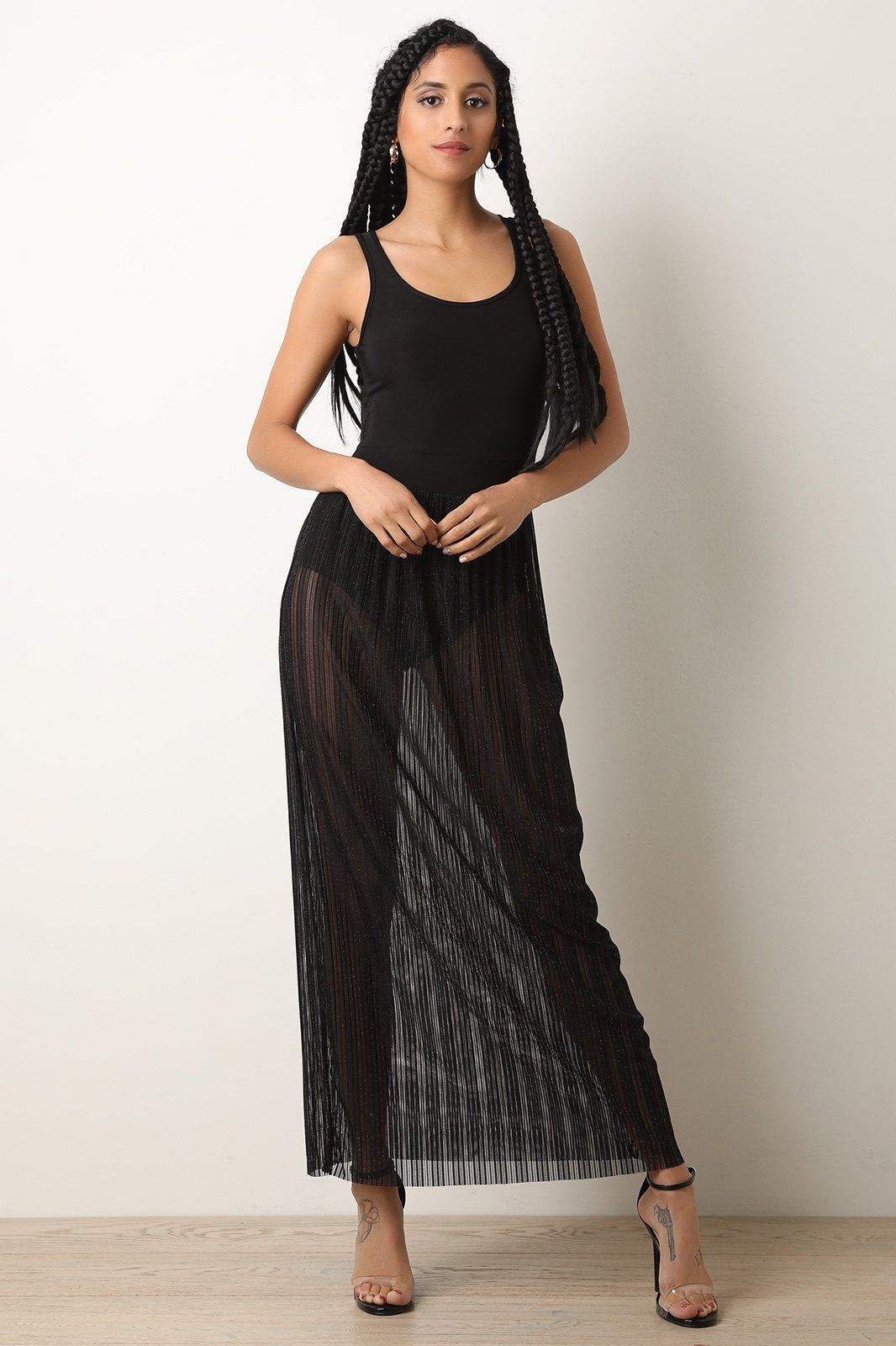 2dae2ce3626 Metallic Ribbed Mesh Bodysuit Maxi Dress  53.25