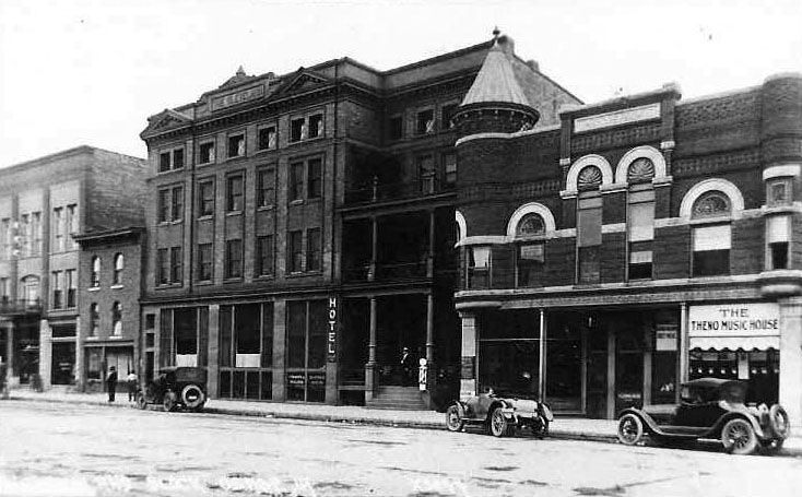 Old Photo Of Main Street Where The Hotel Used To Be Tall Building In Middle And Cleveland Turret Is Now Located On Right