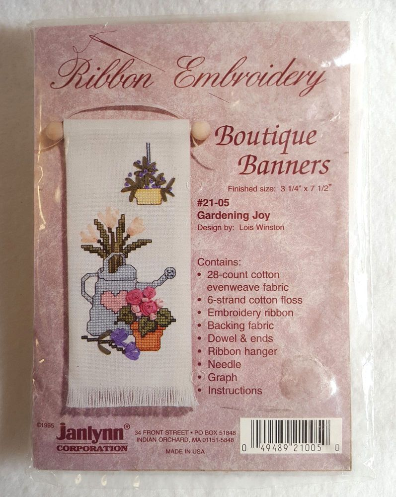Janlynn Counted Cross Stitch Kit With Ribbon Embroidery Boutique