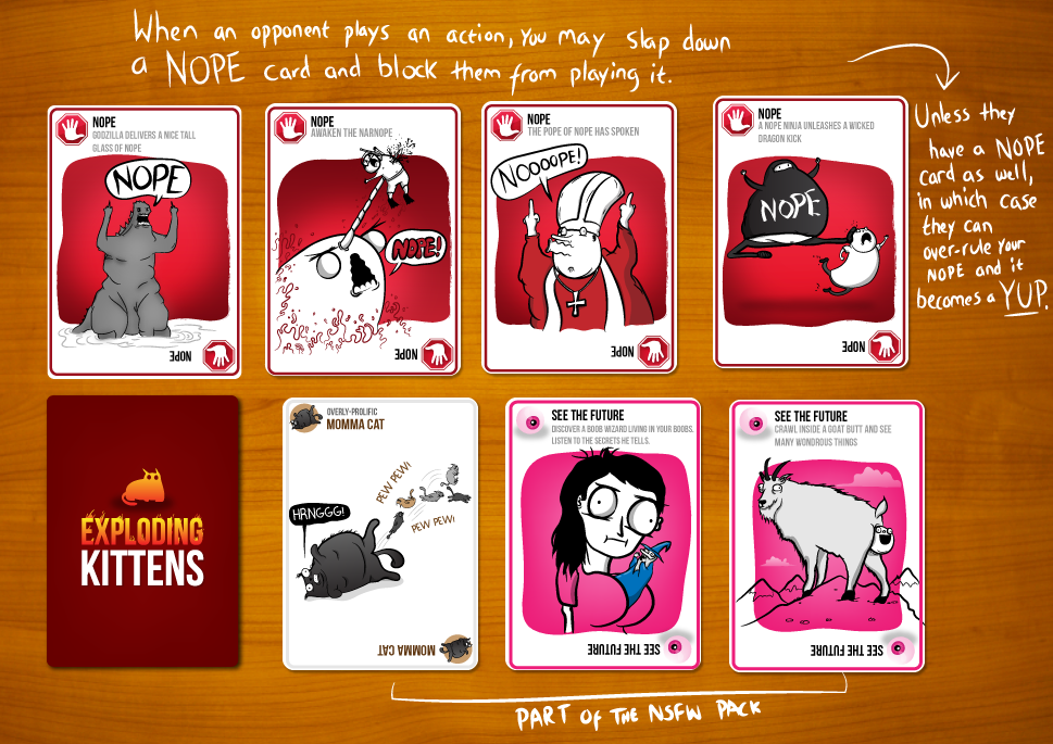 Exploding Kittens NOT SAFE FOR WORK Edition is a card game