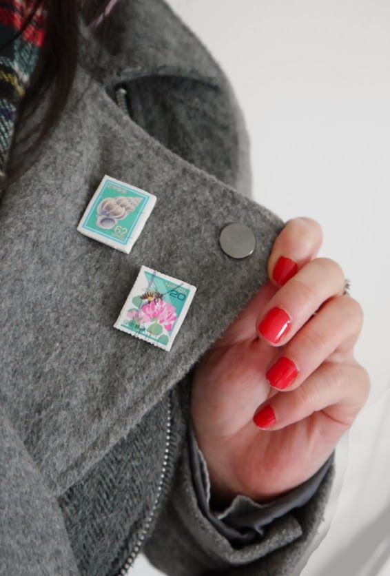 DIY: Postage Stamp Jewellery See how to turn vintage stamps into brooches and pin badges