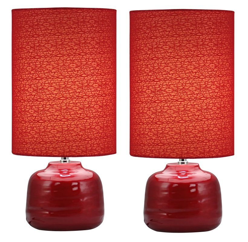 Aspire Home Accents 4495 Tessa Red Table Lamp Set Of 2 Red Lamps Lamp Sets Table Lamp Sets Red Table Lamp Lamp Sets
