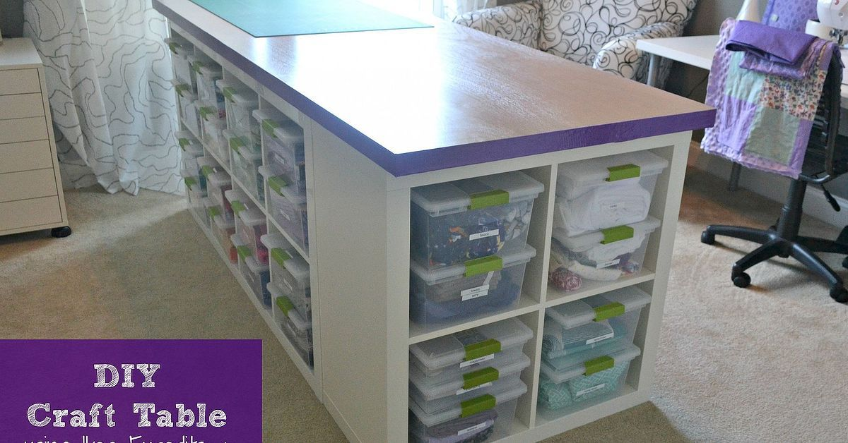 Craft table made of Ikea Expedits an un-bored slab door and Sterilite · Ikea Sewing RoomsOrganization IdeasStorage ... & DIY Craft Table | Slab doors Storage and Doors