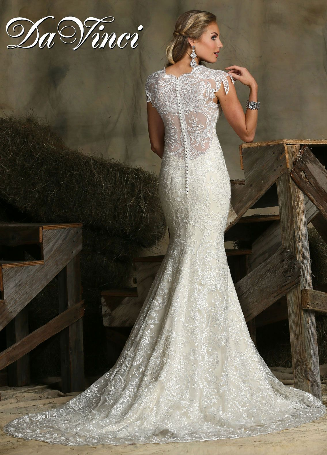 Davinci bridal style is a vneck lace wedding dress with an