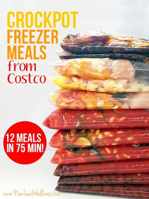 Crockpot Freezer Meals From Costco (12 Meals in 75 Minutes #crockpotmealprep