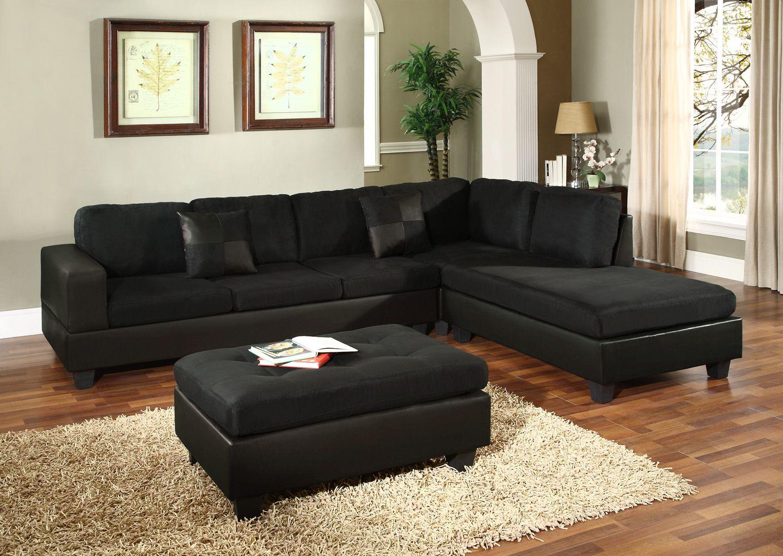 S0005 Black Microfiber Sectional Sofa Black Sectional Living Room Sectional Sofa Modern Sofa Sectional