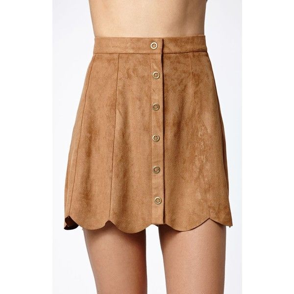 b7e3d74ab Kendall & Kylie Faux Suede Scallop Hem Skirt ($35) ❤ liked on Polyvore  featuring skirts, beige a line skirt, knee length a line skirt, faux suede  skirt, ...