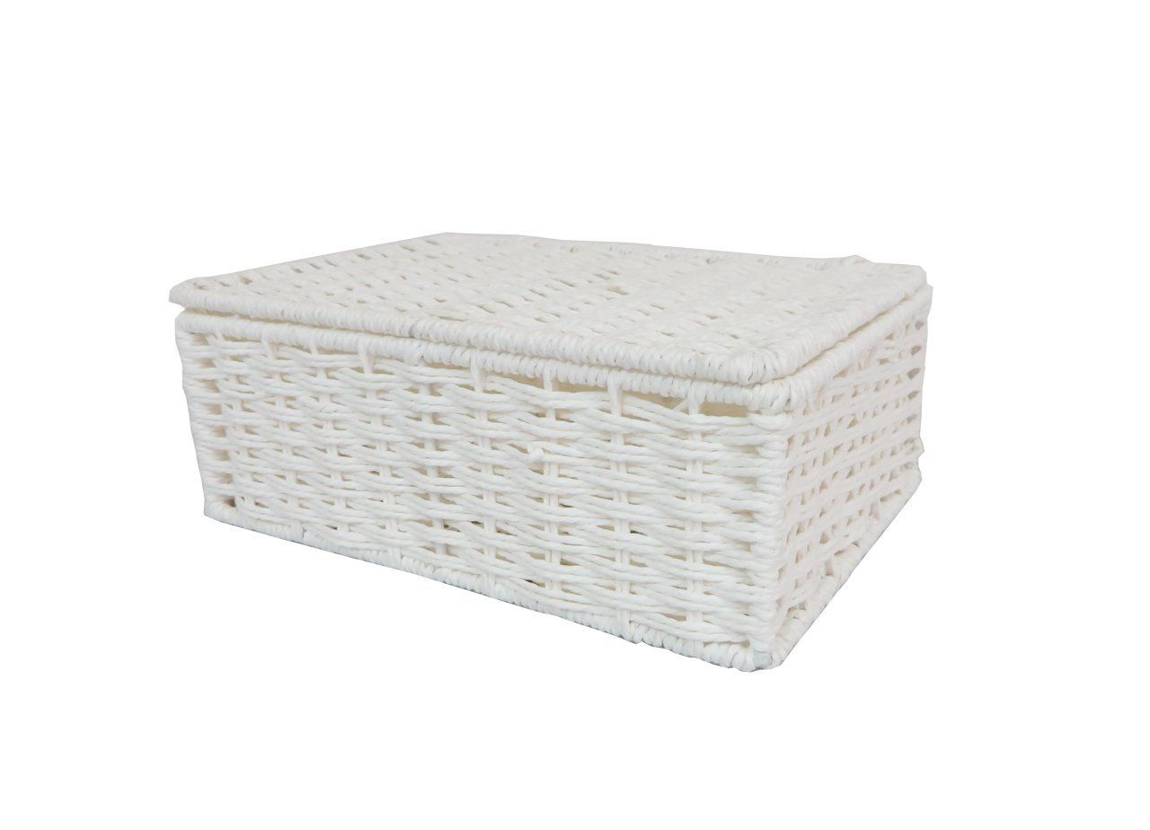 Arpan Paper Rope Storage Basket Box With Lid   White (Small ) By ARPAN: