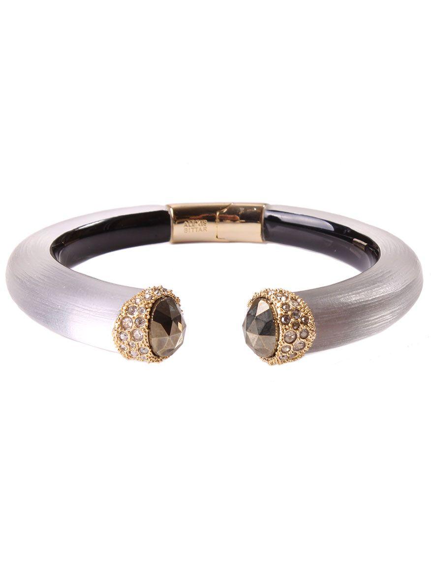 Alexis Bittar Pyrite & Crystal Stone Hinged Bracelet 30JSQU8R