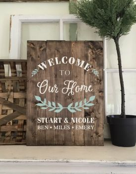 Welcome To Our Home 14 19 Personalized Wood Signs Old Wood Crafts Wooden Signs